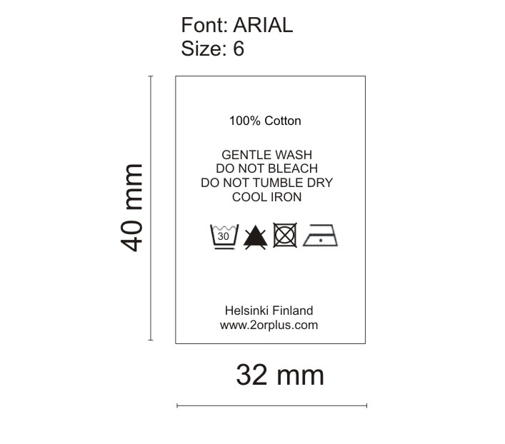2OR+BYYAT WC label 100% cotton